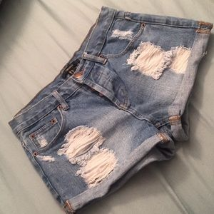 Blue Jean Distressed Shorts!!!